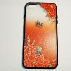 Бампер для iPhone 6/6S Plus с цветами и бабочкой Remax Красный