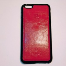 Бампер для iPhone 6/6S Plus с кожаной вставкой Красный