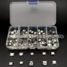 Набір роз'ємів micro usb в боксі 100 шт. Прозорий
