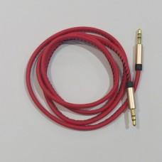 Кабель 3,5 Aux Husky кожаный длина 1 метр Красный