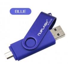OTG USB Флеш накопитель 64 GB Nuiflash (Флешка) Синий