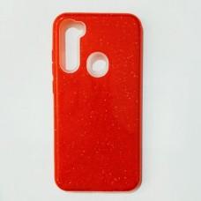 Бампер для Xiaomi Redmi Note 8 с блестинками Красный