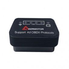 Сканер діагностичний AERMOTOR ELM327  WI-FI, 1,5, OBDII V1.5, WI-FI, інтерфейс OBD2, Підтримка Android, IOS, ПК Чорний