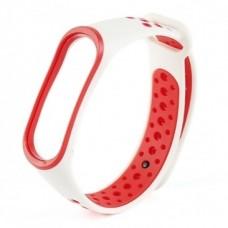 Ремешок для фитнес браслета Mi Band 3 и Mi Band 4 Бело-Красный