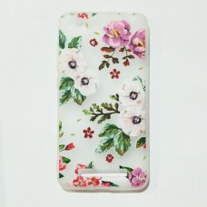 Бампер для Xiaomi Redmi 4A с цветочками и стразами Белый