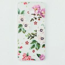 Бампер для Samsung A8 2018 с цветочками и стразами Белый