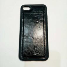 Бампер для iPhone 7/8 с кожаной вставкой Черный