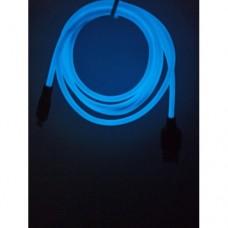 Светящиеся USB кабель Hoco Х21 Plus micro usb 1 метр Синий