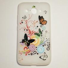 Бампер для Huawei y3 2017 с бабочками Белый