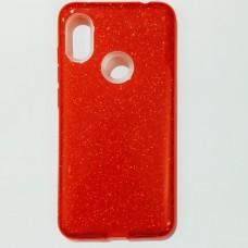 Бампер для Xiaomi Redmi Note 6 с блестинками Красный