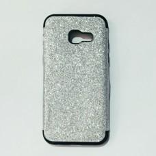 Бампер для Samsung A320 с блестками Серебристый