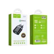 Мережевий зарядний пристрій USB Hoco C12Q Чорний
