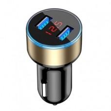 Автомобильное зарядное устройство с вольтметром Черный+Золотой