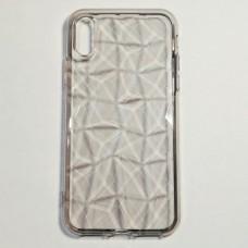 Бампер для iPhone X силиконовый граненый Прозрачный Темный