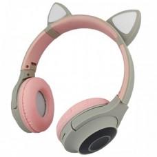 Навушники Bluetooth CATear VZV-850M LED вуха Сірий+Рожевий