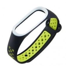 Ремешок для фитнес браслета Mi Band 3 и Mi Band 4 Черный+Зеленый