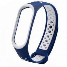 Ремешок для фитнес браслета Mi Band 5 Синий-белый
