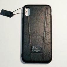Бампер для iPhone X силикон+кожа Черный