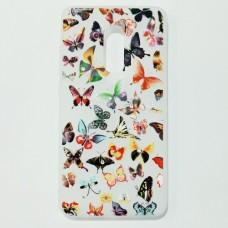 Бампер для Xiaomi Redmi Note 4 X с бабочками Белый
