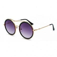 Стильные круглые очки для женщин hikulity Серый+Золотой