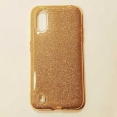 Бампер для Samsung A01/A015 с блестинками Золотой
