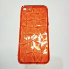 Бампер для iPhone 7/8 прозрачный граненный Красный