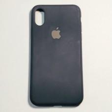 Бампер для iPhone X силикон с яблоком Темно-синий