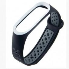 Ремешок для фитнес браслета Mi Band 5 Черный+Серый