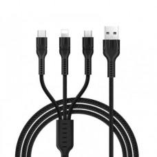 Кабель 3 в 1 Hoco U31 (micro USB+Ligtning+Type-C) 1.2 метра Черный