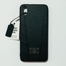 Бампер кожаный для Xiaomi Redmi 7A Черный