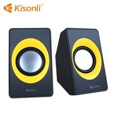 Компьютерные колонки 2.0 Kisonli A-303 Черный+Желтый
