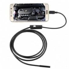 Эндоскоп USB/ micro USB/Type-C 7 мм. 1 метр Черный