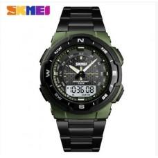 Кварцевые Mилитари часы Skmei 1370 Черный+Зеленый