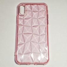 Бампер для iPhone X силиконовый граненый Розовый