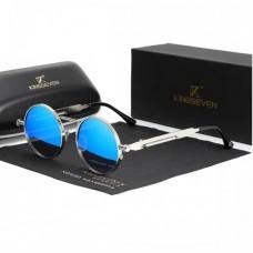 Сонцезахисні окуляри KINGSEVEN кругла оправа Сріблясто- Блакитний