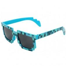 Тематические, пиксельные, очки Minecraft 8 bit для взрослых Голубой