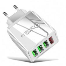 Зарядний пристрій 3 USB 2A з вольтметром та амперметром Білий