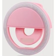 Кольцо для селфи Selfie Ring Light XJ-01 на аккумуляторе Розовый