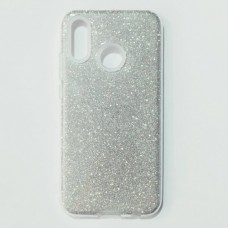 Бампер для Huawei P20 Lite с блесками Серебристый
