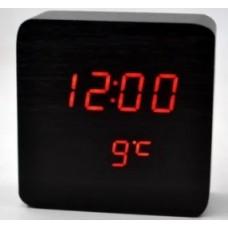 Годинник настільний у вигляді дерев'яного бруска VST-872-1 Чорний