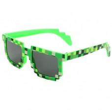 Тематические, пиксельные, очки Minecraft 8 bit для взрослых Зеленый