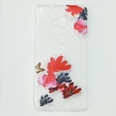 Бампер для Huawei X5 с цветочками Прозрачный