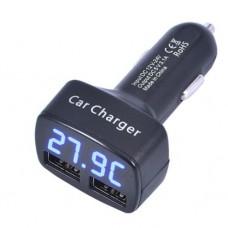 Автомобильное зарядное устройство с вольтметром, амперметром и термометром Black